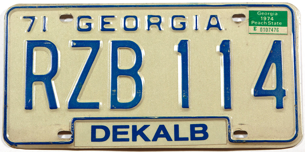 A 1974 Georgia Passenger Car License Plate in very good plus condition from Dekalb county