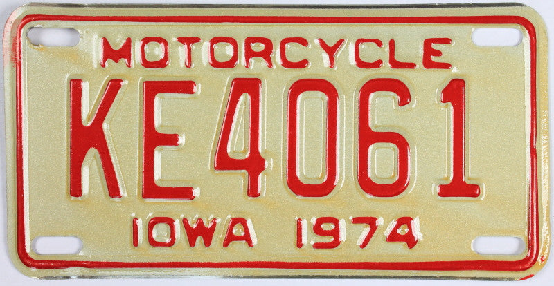 An unused new old stock 1974 Iowa Motorcycle License Plate that is in Excellent Plus Condition