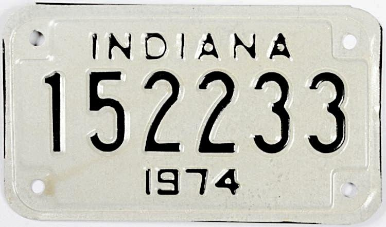 NOS 1974 Indiana Bike Tag in excellent minus condition