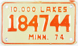 1974 Minnesota Motorcycle License Plate