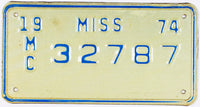 1974 Mississippi Motorcycle License Plate