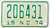 1974 North Carolina Motorcycle License Plate