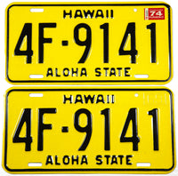 1974 Hawaii passenger car license plates in NOS Near Mint condition