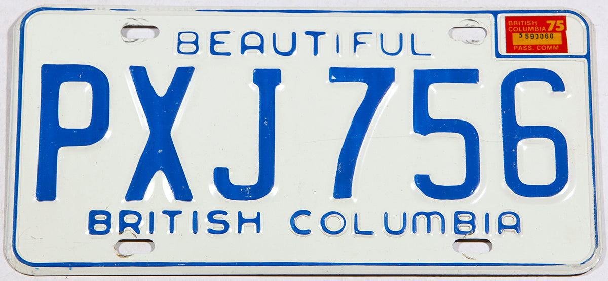 A classic 1975 British Columbia passenger car license plate in very good plus condition