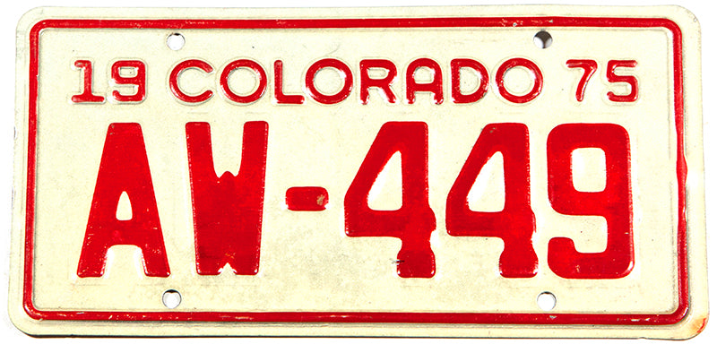 A NOS 1975 classic Colorado Motorcycle License Plate in excellent new old stock condition