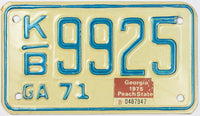 1975 Georgia Motorcycle License Plate in Excellent condition