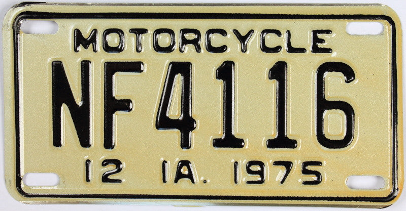 An Antique 1975 Iowa Motorcycle License Plate which is NOS, never been used, and will grade excellent plus