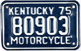 1975 Kentucky Motorcycle License Plate