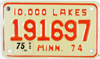 1975 Minnesota Motorcycle License Plate