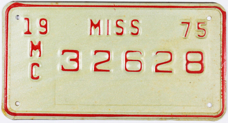 1975 Mississippi Motorcycle License Plate