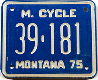 A classic 1975 Montana motorycle license plate in New Old Stock excellent condition