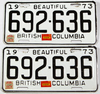 A classic pair of 1975  British Columbia truck license plates in very good plus condition