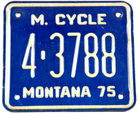 1975 Montana Motorcycle License Plate in very good plus condition