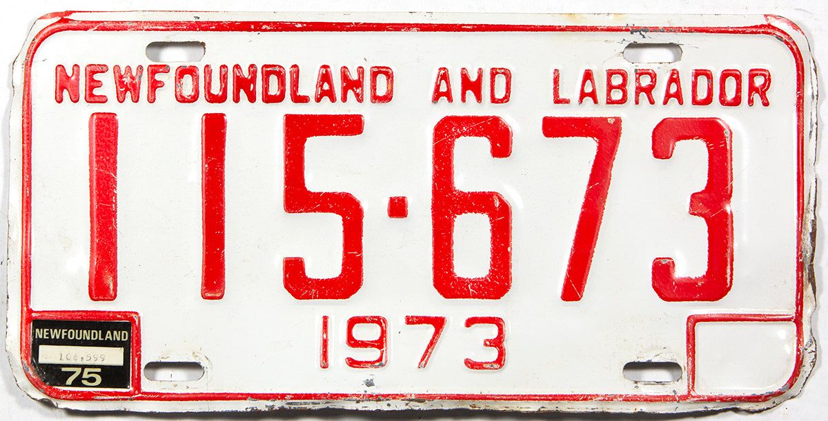 A 1975 Newfoundland and Labrador passenger car license plate in very good condition with some rough edges