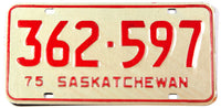 A classic 1975 NOS Saskatchewan passenger car license plate in New Old Stock excellent condition