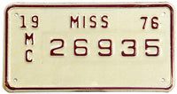 A 1976 Mississippi New Old Stock motorcycle license plate