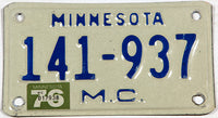 A Vintage 1976 Minnesota Motorcycle License Plate in very good plus condition