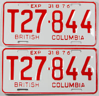 A classic pair of 1976 NOS British Columbia logging truck license plates in New Old Stock excellent plus condition