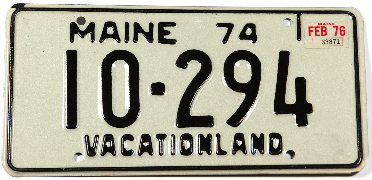 A classic 1976 Maine DMV car license plate in excellent plus condition
