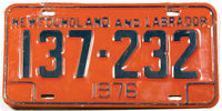 A 1976 Newfoundland and Labrador License Plate in very good plus condition