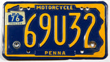 A classic 1976 Pennsylvania motorcycle license plate in excellent minus condition wth four extra holes