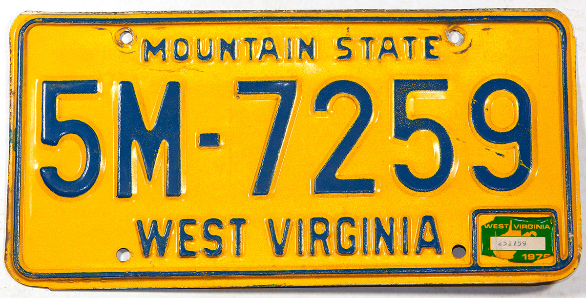 A classic 1976 West Virginia passenger car license plate for sale at Brandywine General Store in very good plus condition