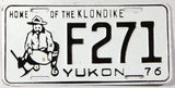 A 1976 Yukon passenger car license plate in excellent minus condition