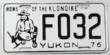 A 1976 Faro Yukon passenger car license plate in excellent minus condition