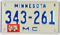1977 Minnesota Motorcycle License Plate