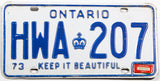 A 1977 Ontario Canada passenger car license plate in very good plus condition