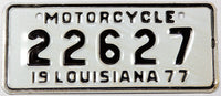 A classic NOS 1977 Louisiana motorcycle license plate om excellent condition