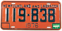 A 1977 Newfoundland and Labrador License Plate in excellent minus condition