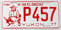 A 1977 Yukon passenger car license plate in excellent minus condition