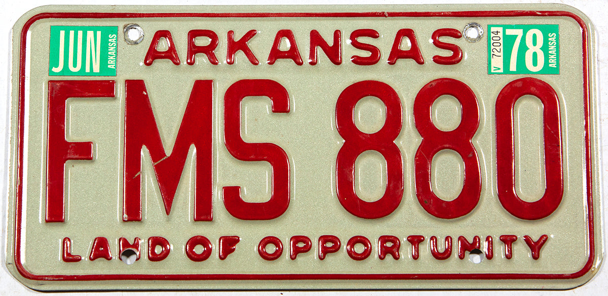 A 1978 Arkansas car license plate in excellent minus condition