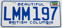 1978 British Columbia Canada car license plate in excellent plus condition