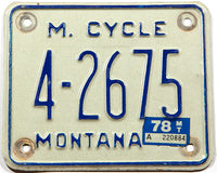 A 1978 Montana motorcycle license plate in very good condition