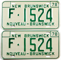 A classic pair of NOS 1978 New Brunswick farm truck license plates in unused near mint condition