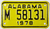 NOS 1978 Alabama Motorcycle License Plate in excellent condition