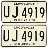 1978 Illinois passenger car license plates in NOS Excellent minus condition
