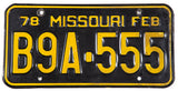 A classic 1978 Missouri License Plate for a passenger automobile