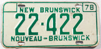 A classic 1978 New Brunswick passenger car license plate in very good condition