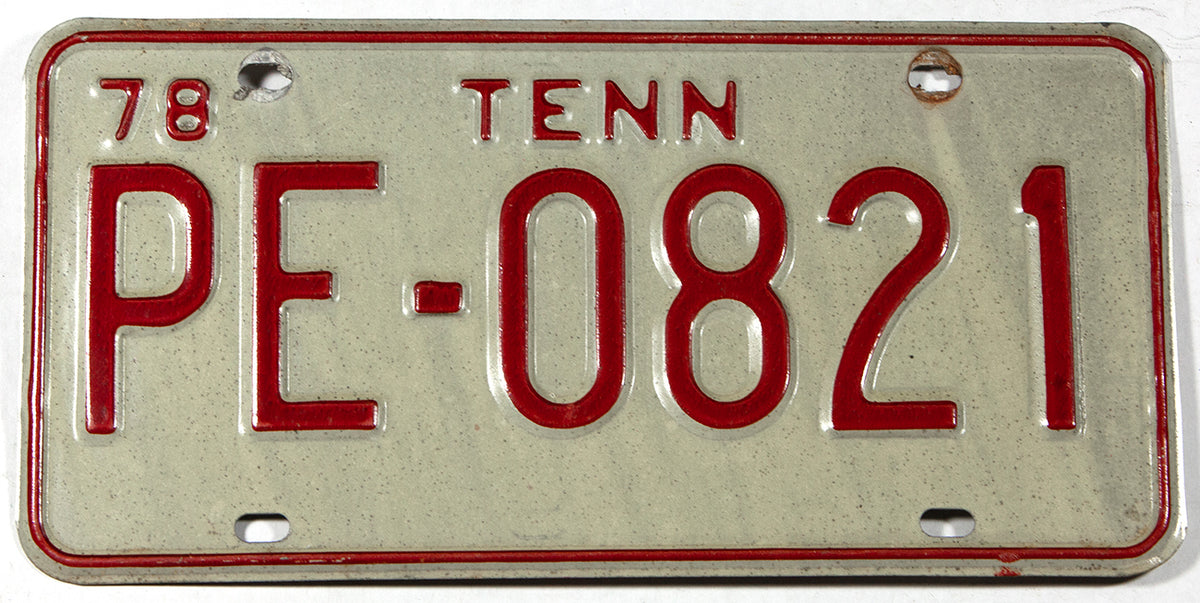 A 1978 Tennessee truck license plate in very good plus condition