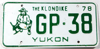 A 1978 Yukon passenger car license plate in very good plus condition