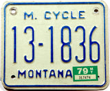 1979 Montana motorcycle license plate in very good plus condition