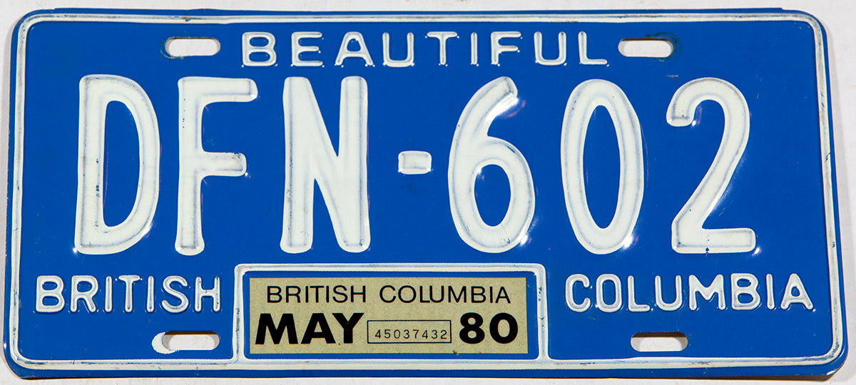 A classic 1980 British Columbia passenger car license plate in excellent minus condition