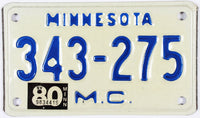 1980 Minnesota Motorcycle License Plate