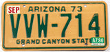 A classic 1980 Arizona passenger car license plate in excellent minus condition