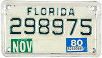 1980 Florida motorcycle license plate in very good plus condition