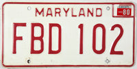 1980 Maryland Car License Plate grading very good plus