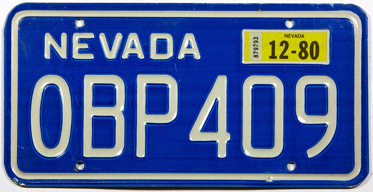 A 1980 Nevada passenger car license plate for sale at Brandywine General Store in excellent minus condition